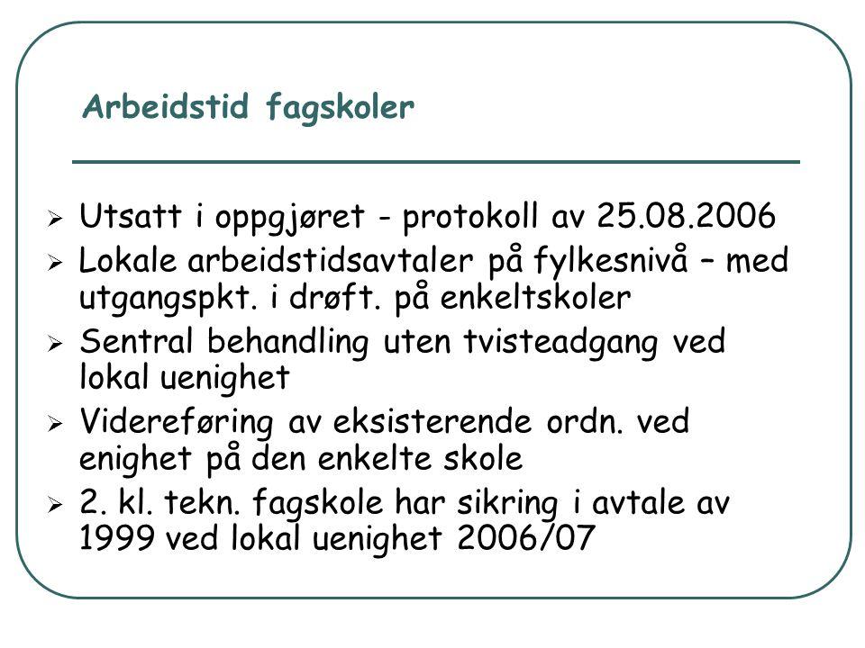 Arbeidstid fagskoler Utsatt i oppgjøret - protokoll av 25.08.2006.