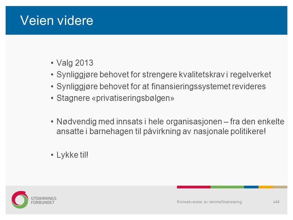 Veien videre Valg 2013. Synliggjøre behovet for strengere kvalitetskrav i regelverket. Synliggjøre behovet for at finansieringssystemet revideres.