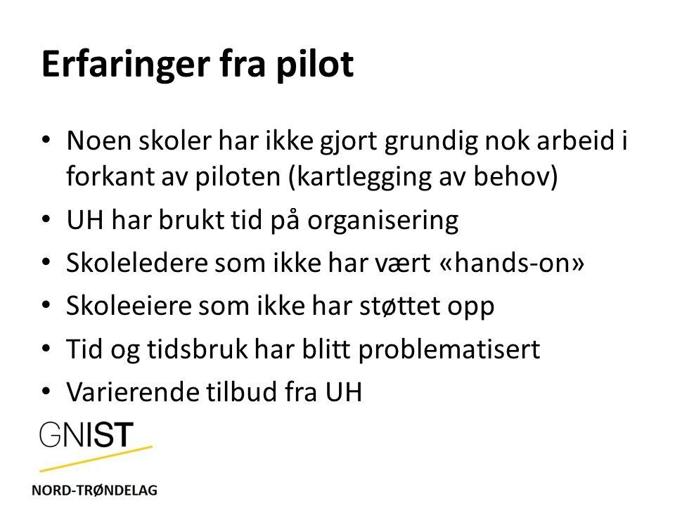 Erfaringer fra pilot Noen skoler har ikke gjort grundig nok arbeid i forkant av piloten (kartlegging av behov)