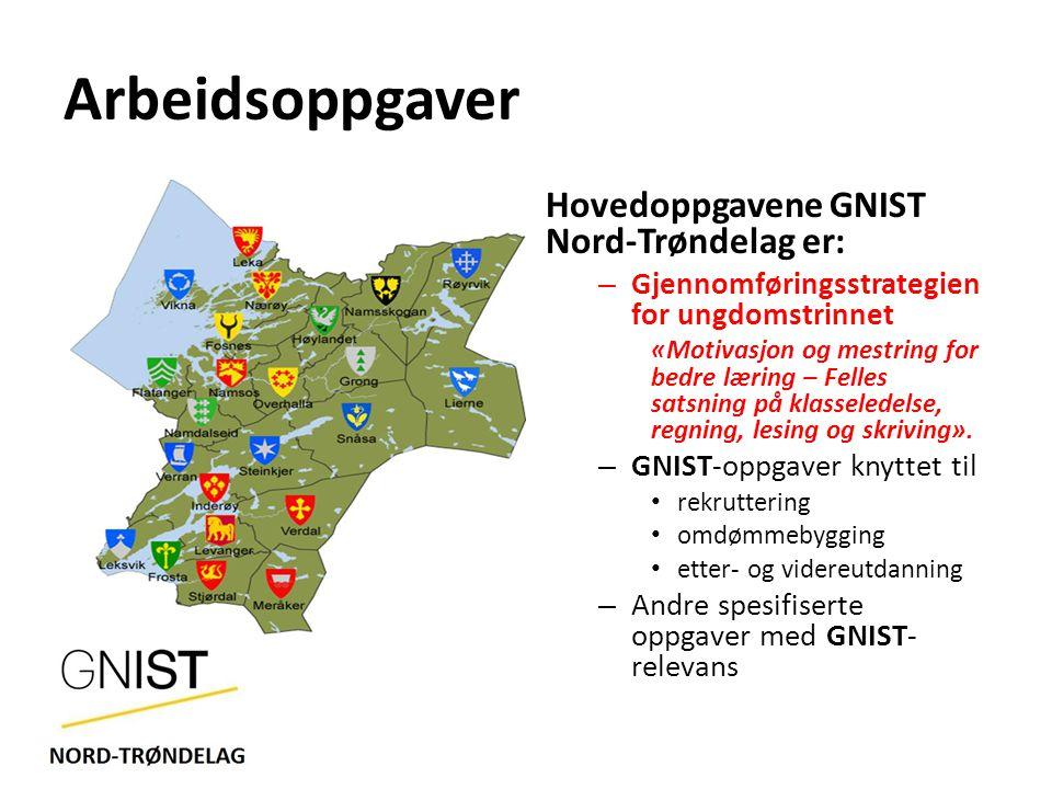 Arbeidsoppgaver Hovedoppgavene GNIST Nord-Trøndelag er: