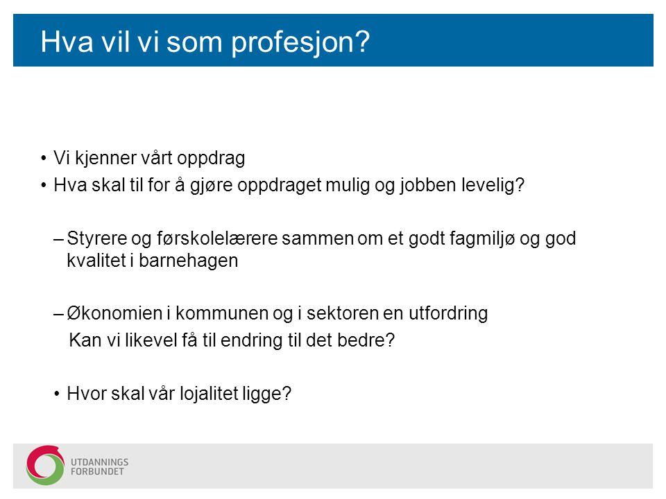Hva vil vi som profesjon
