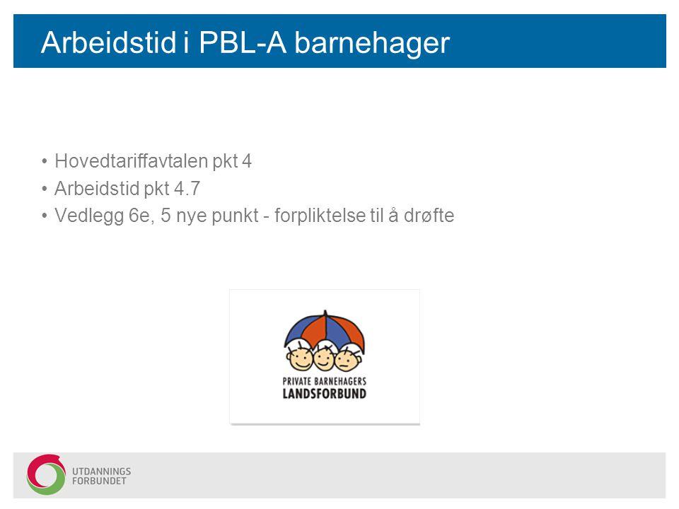 Arbeidstid i PBL-A barnehager