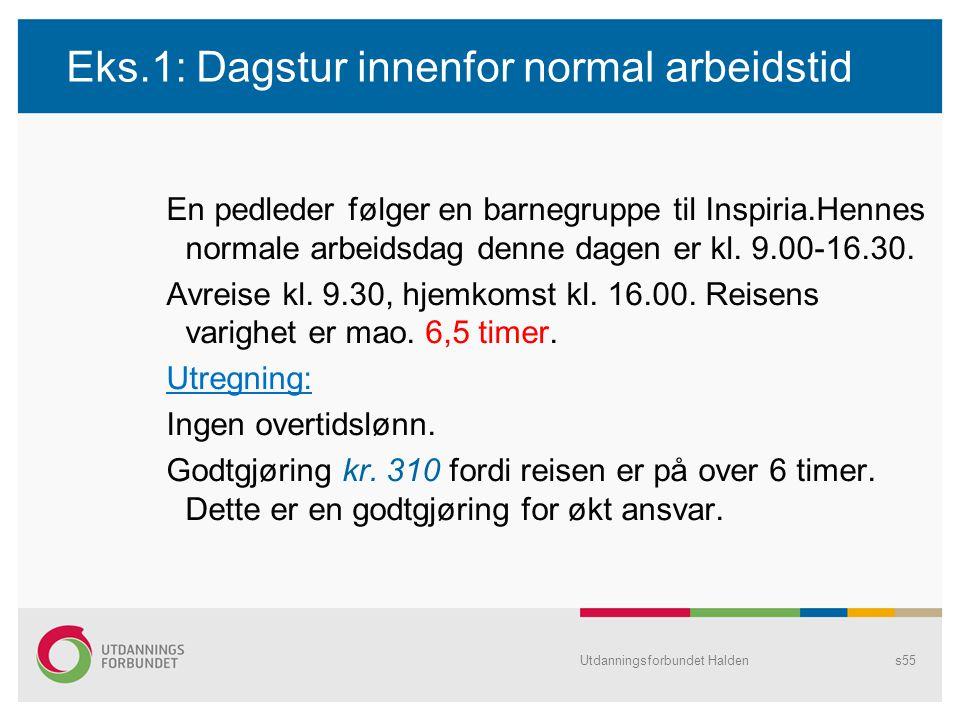Eks.1: Dagstur innenfor normal arbeidstid