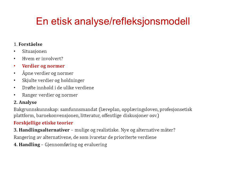 En etisk analyse/refleksjonsmodell