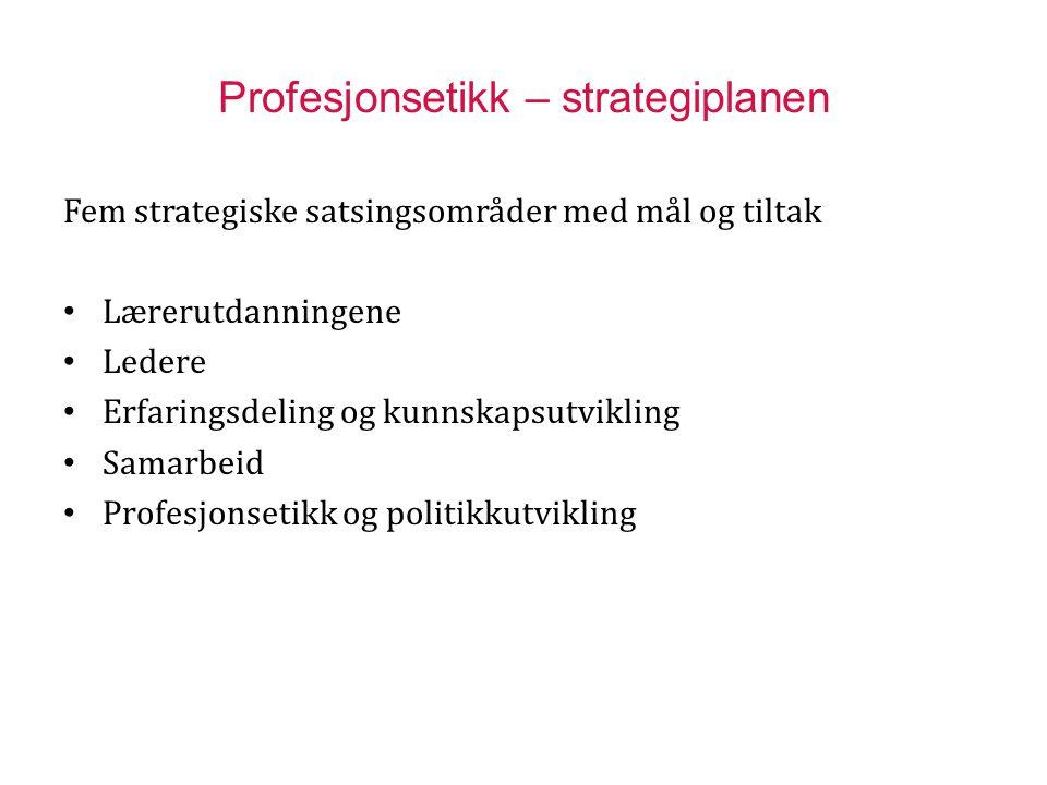 Profesjonsetikk – strategiplanen