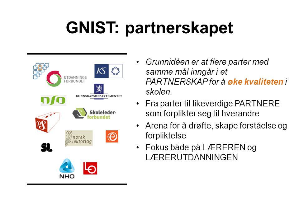 GNIST: partnerskapet Grunnidéen er at flere parter med samme mål inngår i et PARTNERSKAP for å øke kvaliteten i skolen.