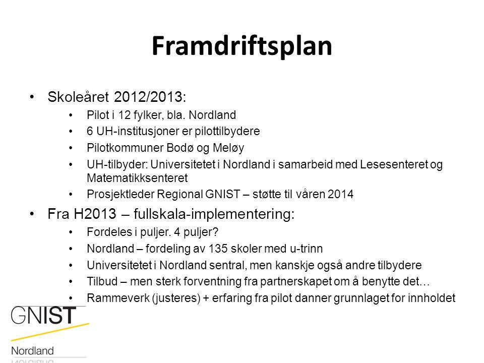 Framdriftsplan Skoleåret 2012/2013: