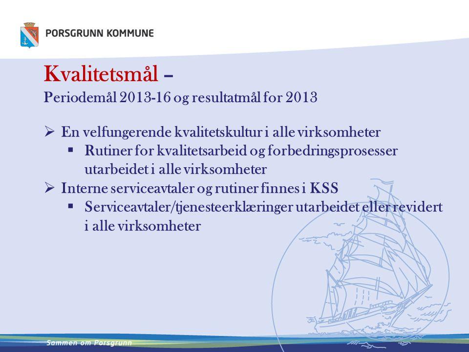 Kvalitetsmål – Periodemål 2013-16 og resultatmål for 2013