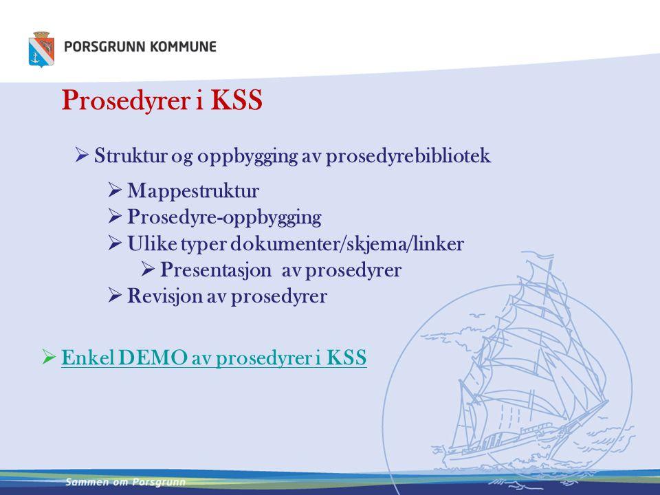 Struktur og oppbygging av prosedyrebibliotek Mappestruktur