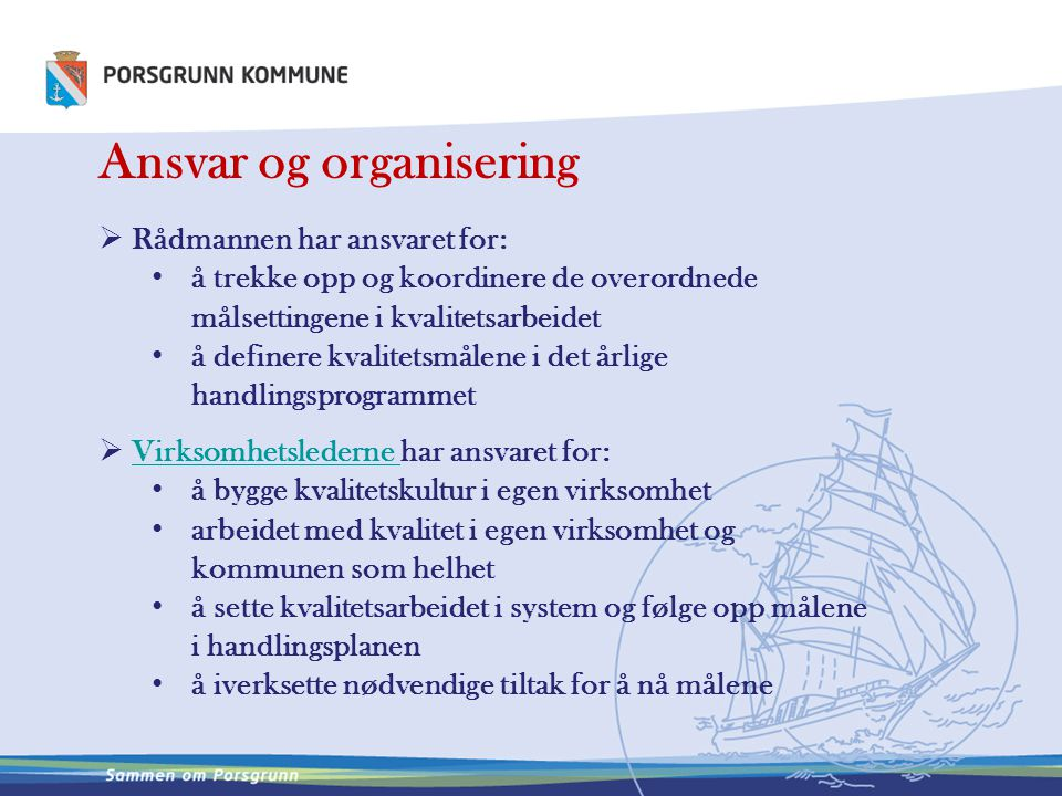Ansvar og organisering
