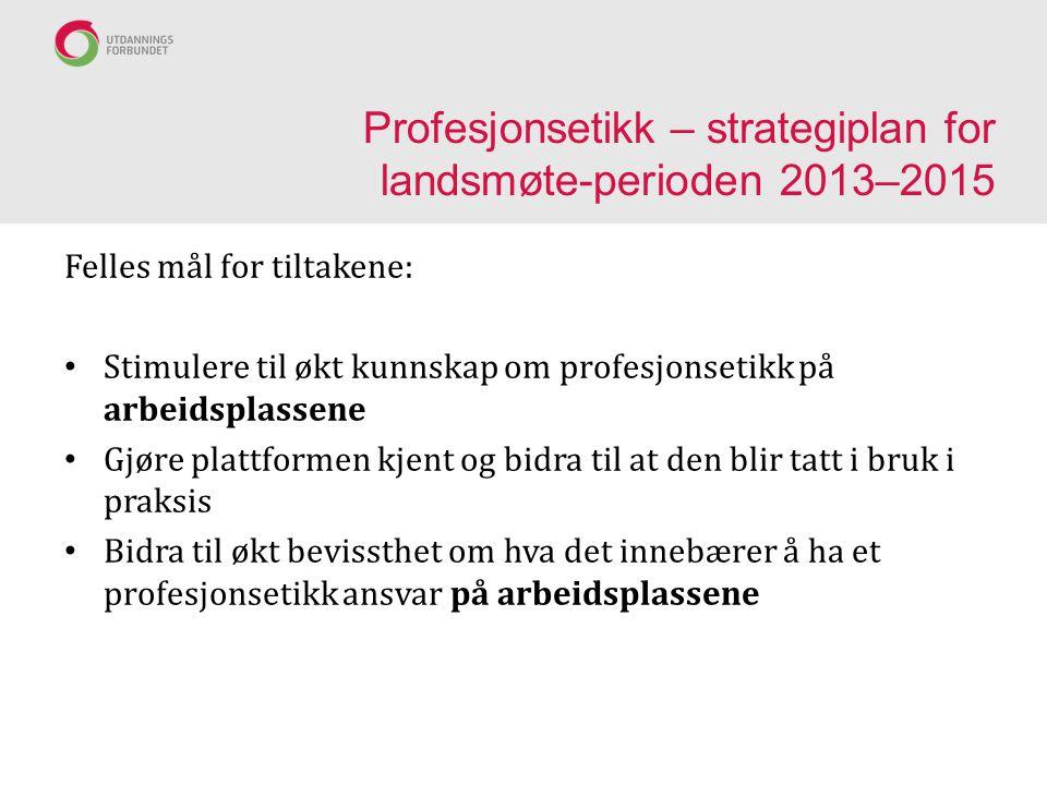 Profesjonsetikk – strategiplan for landsmøte-perioden 2013–2015