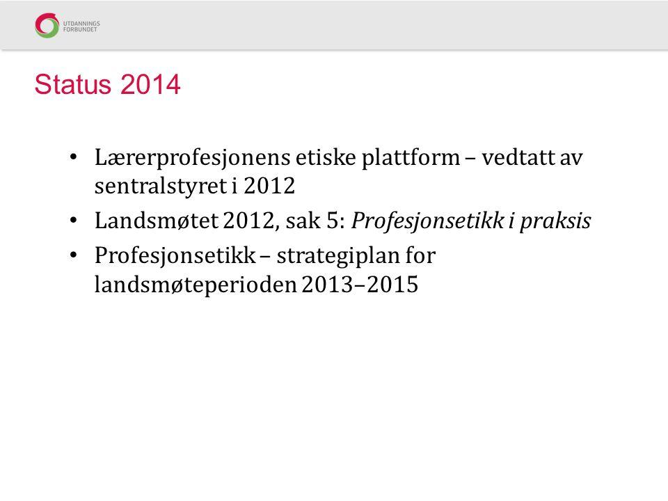 Status 2014 Lærerprofesjonens etiske plattform – vedtatt av sentralstyret i 2012. Landsmøtet 2012, sak 5: Profesjonsetikk i praksis.