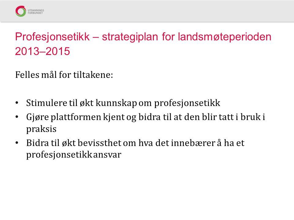 Profesjonsetikk – strategiplan for landsmøteperioden 2013–2015