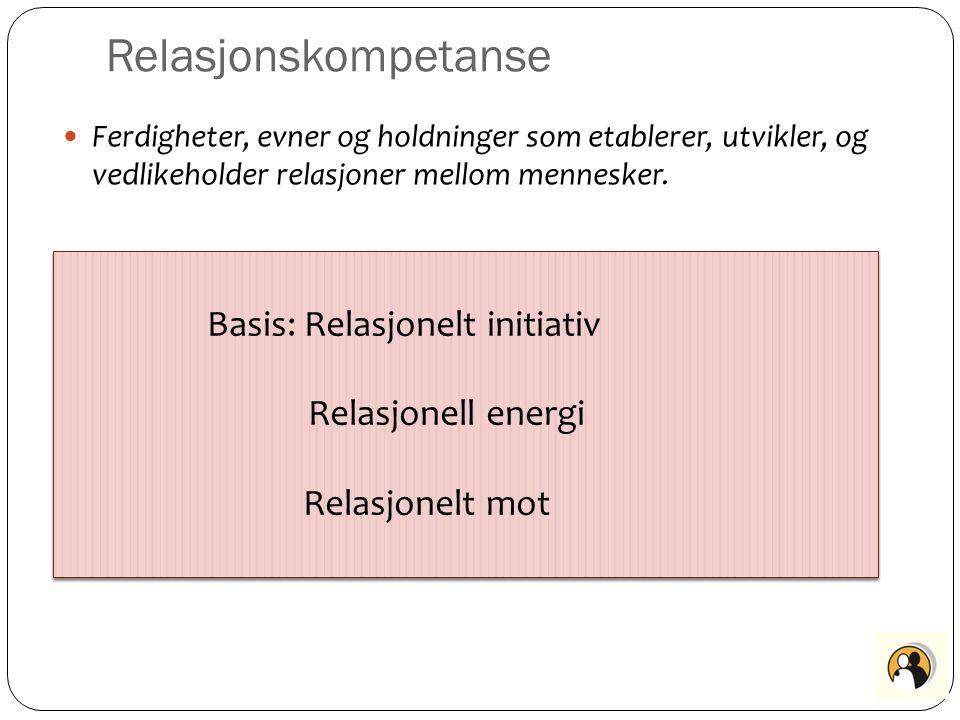 Relasjonskompetanse Basis: Relasjonelt initiativ Relasjonell energi