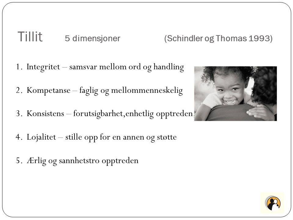 Tillit 5 dimensjoner (Schindler og Thomas 1993)