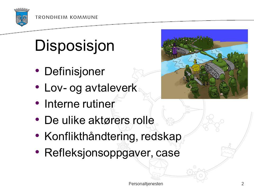 Disposisjon Definisjoner Lov- og avtaleverk Interne rutiner