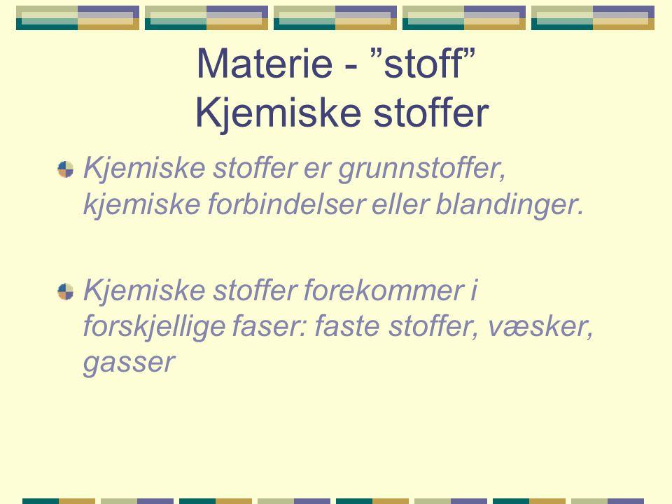 Materie - stoff Kjemiske stoffer