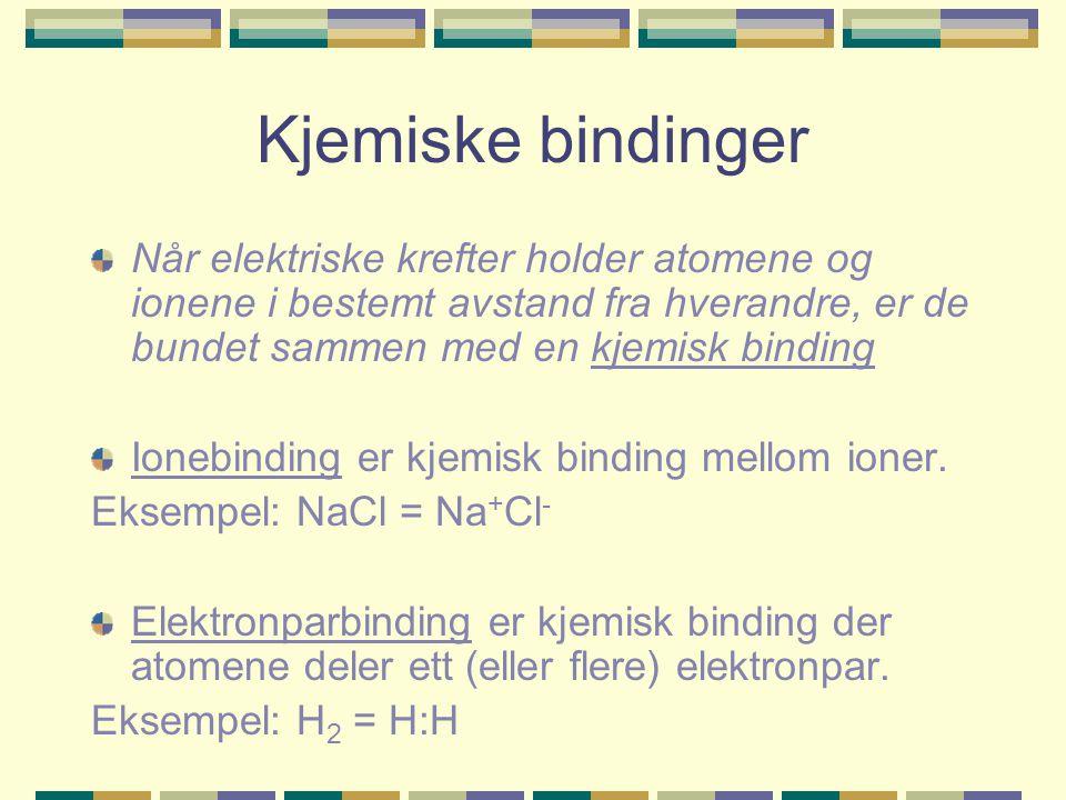 Kjemiske bindinger Når elektriske krefter holder atomene og ionene i bestemt avstand fra hverandre, er de bundet sammen med en kjemisk binding.