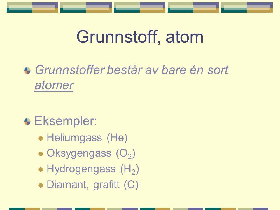 Grunnstoff, atom Grunnstoffer består av bare én sort atomer Eksempler: