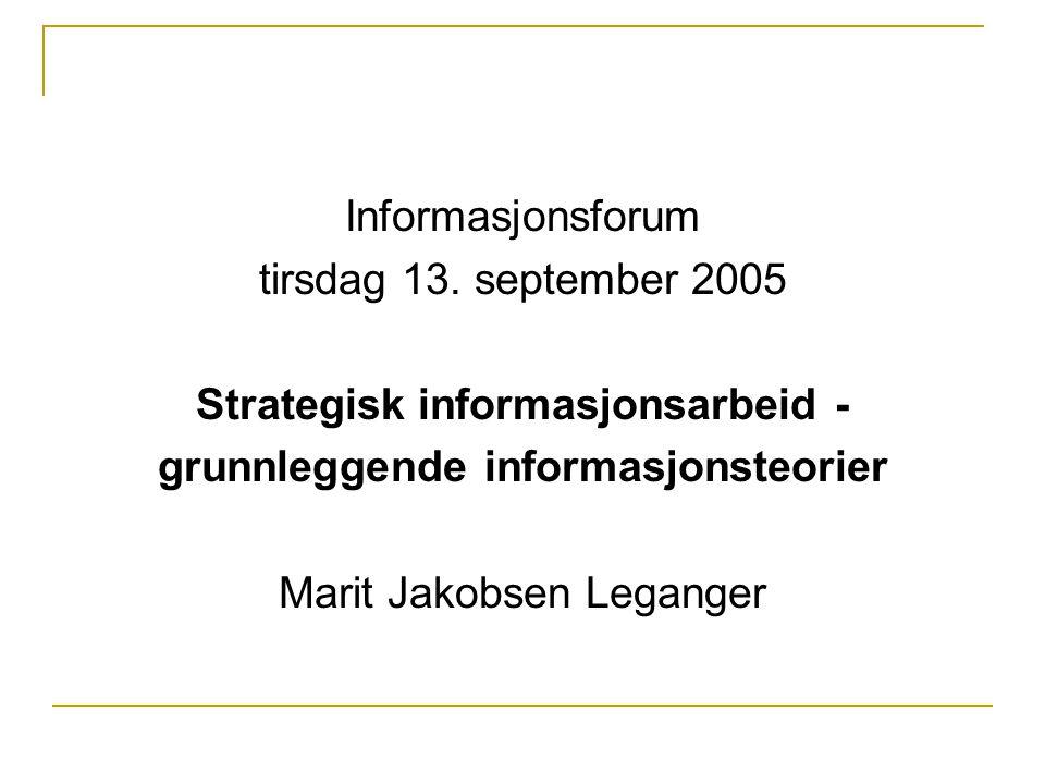 Strategisk informasjonsarbeid - grunnleggende informasjonsteorier