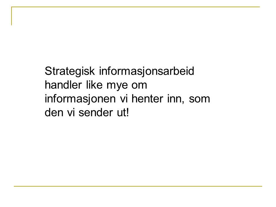 Strategisk informasjonsarbeid handler like mye om informasjonen vi henter inn, som den vi sender ut!