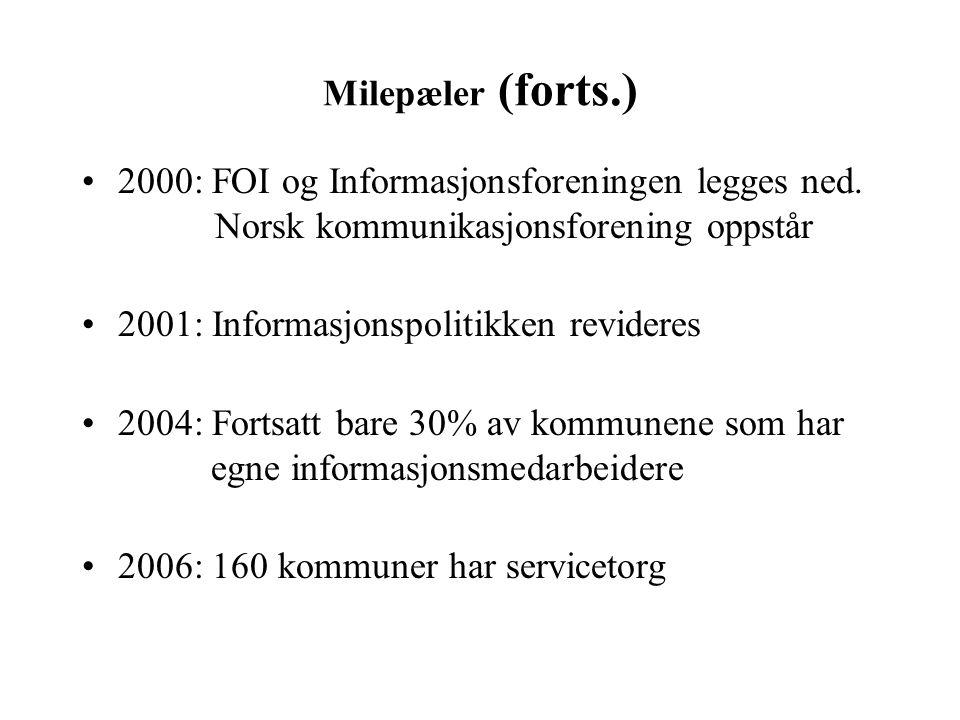 Milepæler (forts.) 2000: FOI og Informasjonsforeningen legges ned. Norsk kommunikasjonsforening oppstår.
