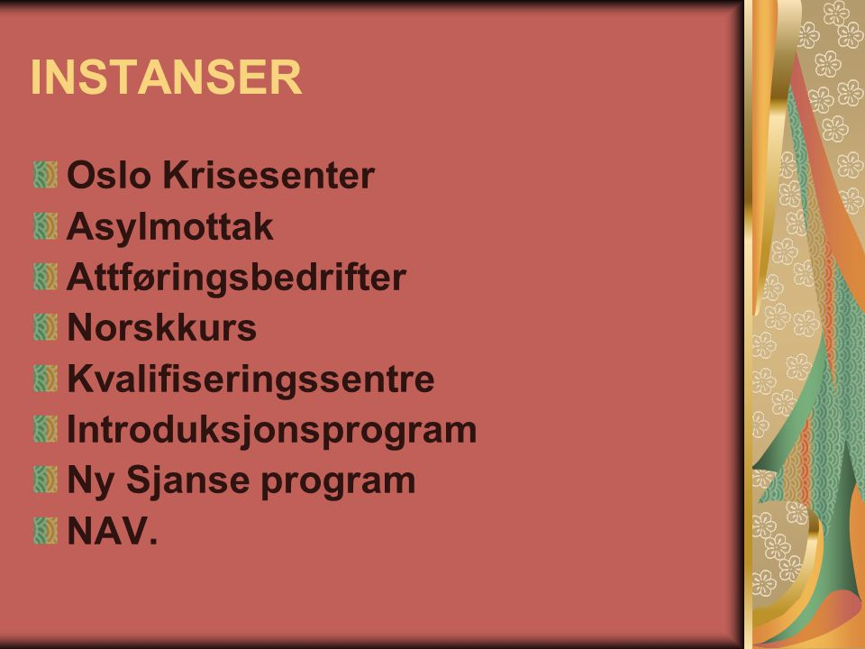INSTANSER Oslo Krisesenter Asylmottak Attføringsbedrifter Norskkurs