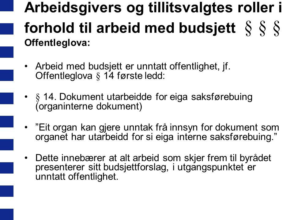 Arbeidsgivers og tillitsvalgtes roller i forhold til arbeid med budsjett § § §