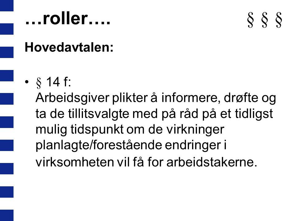 …roller…. § § § Hovedavtalen: