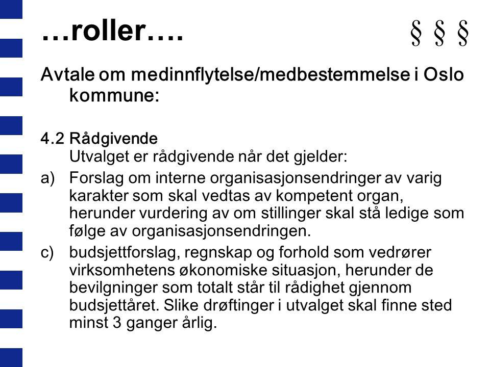 …roller…. § § § Avtale om medinnflytelse/medbestemmelse i Oslo kommune: