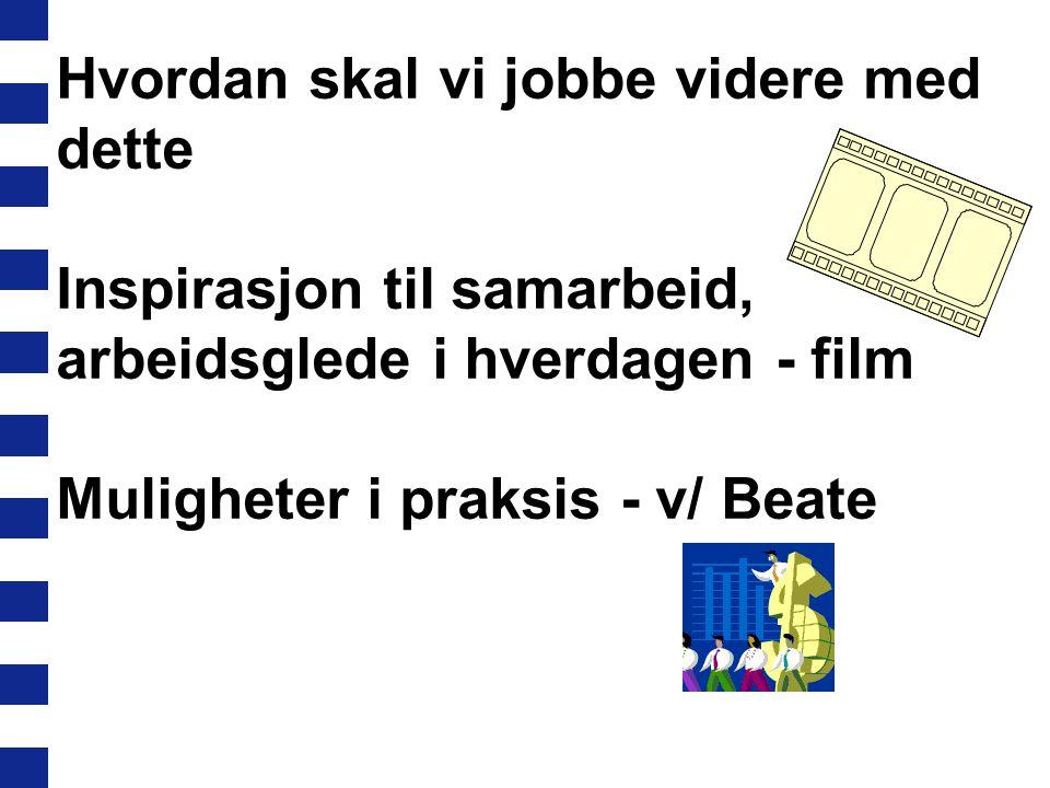 Hvordan skal vi jobbe videre med dette Inspirasjon til samarbeid, arbeidsglede i hverdagen - film Muligheter i praksis - v/ Beate