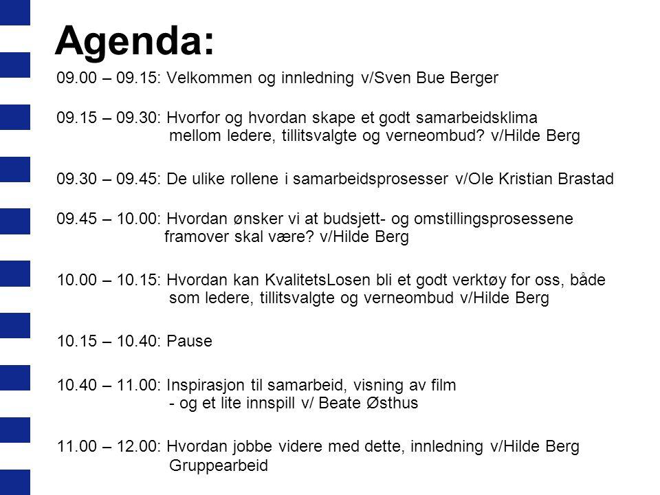 Agenda: 09.00 – 09.15: Velkommen og innledning v/Sven Bue Berger