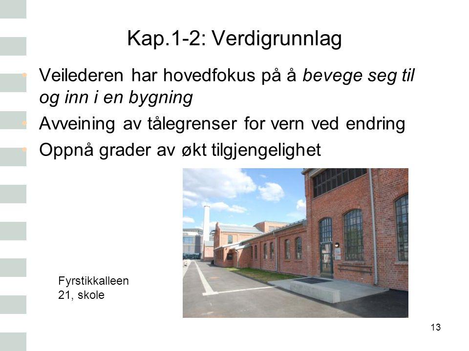 Kap.1-2: Verdigrunnlag Veilederen har hovedfokus på å bevege seg til og inn i en bygning. Avveining av tålegrenser for vern ved endring.