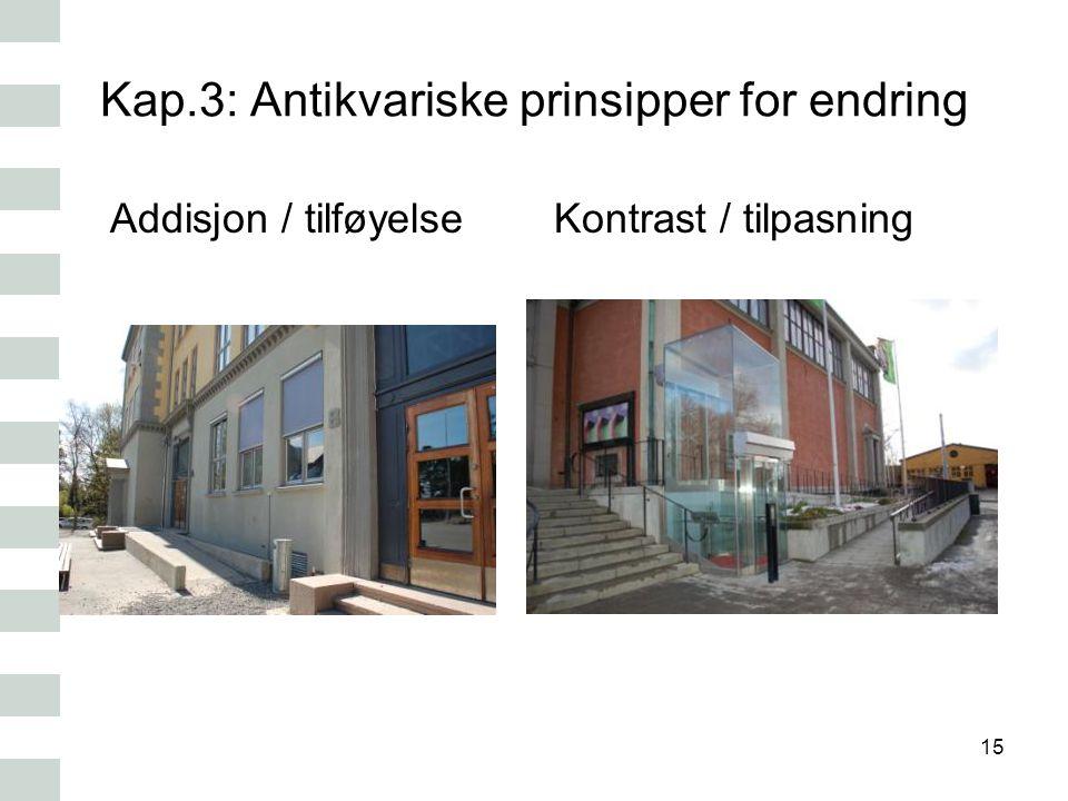 Kap.3: Antikvariske prinsipper for endring