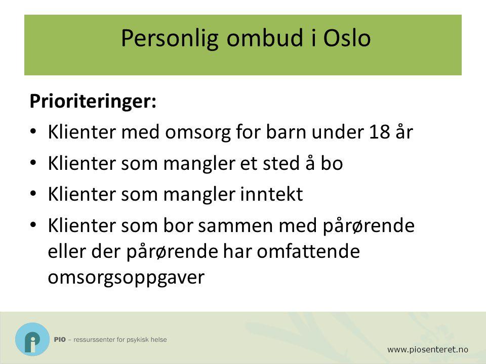 Personlig ombud i Oslo Prioriteringer: