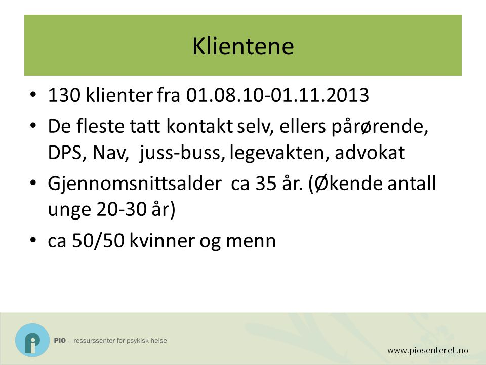 Klientene 130 klienter fra 01.08.10-01.11.2013