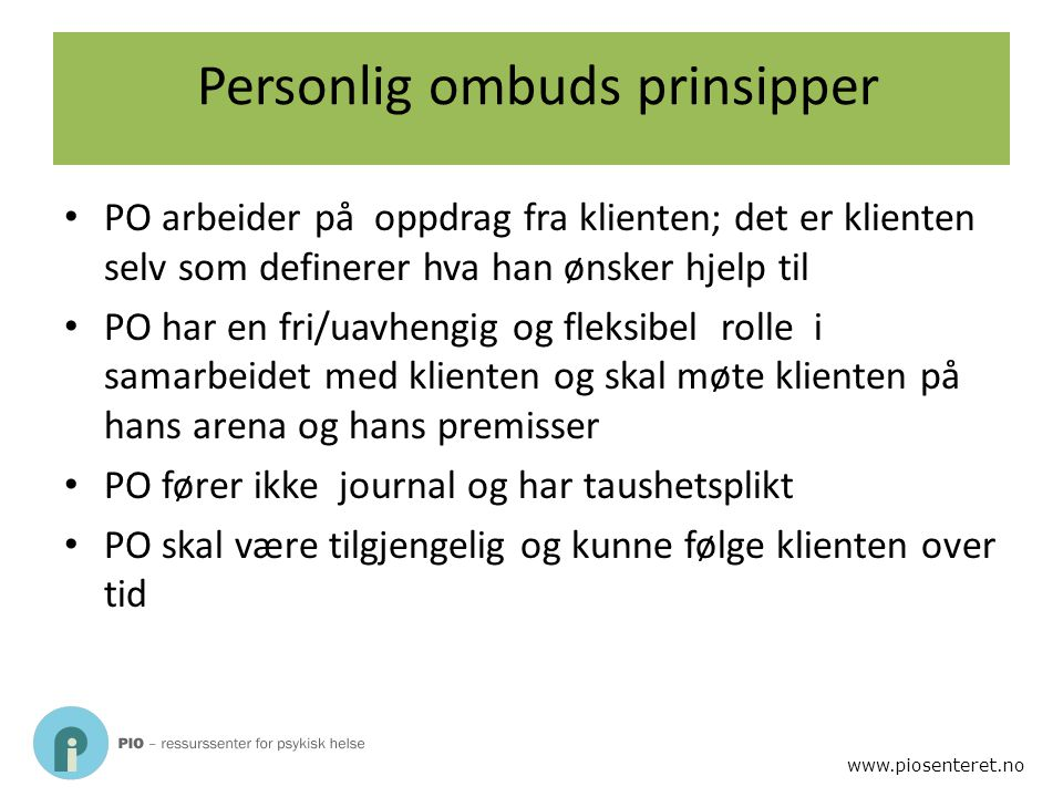 Personlig ombuds prinsipper