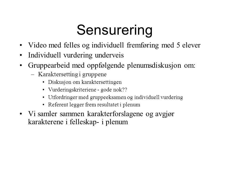 Sensurering Video med felles og individuell fremføring med 5 elever