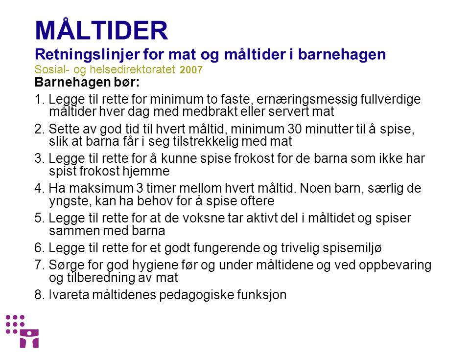 MÅLTIDER Retningslinjer for mat og måltider i barnehagen Sosial- og helsedirektoratet 2007