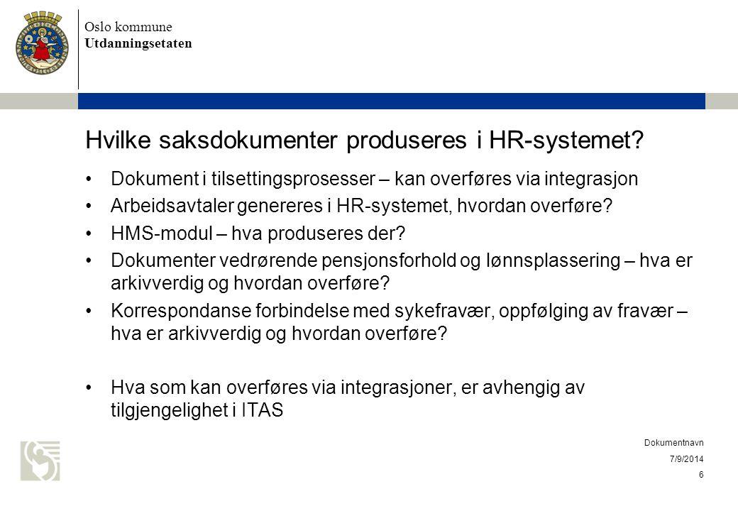 Hvilke saksdokumenter produseres i HR-systemet