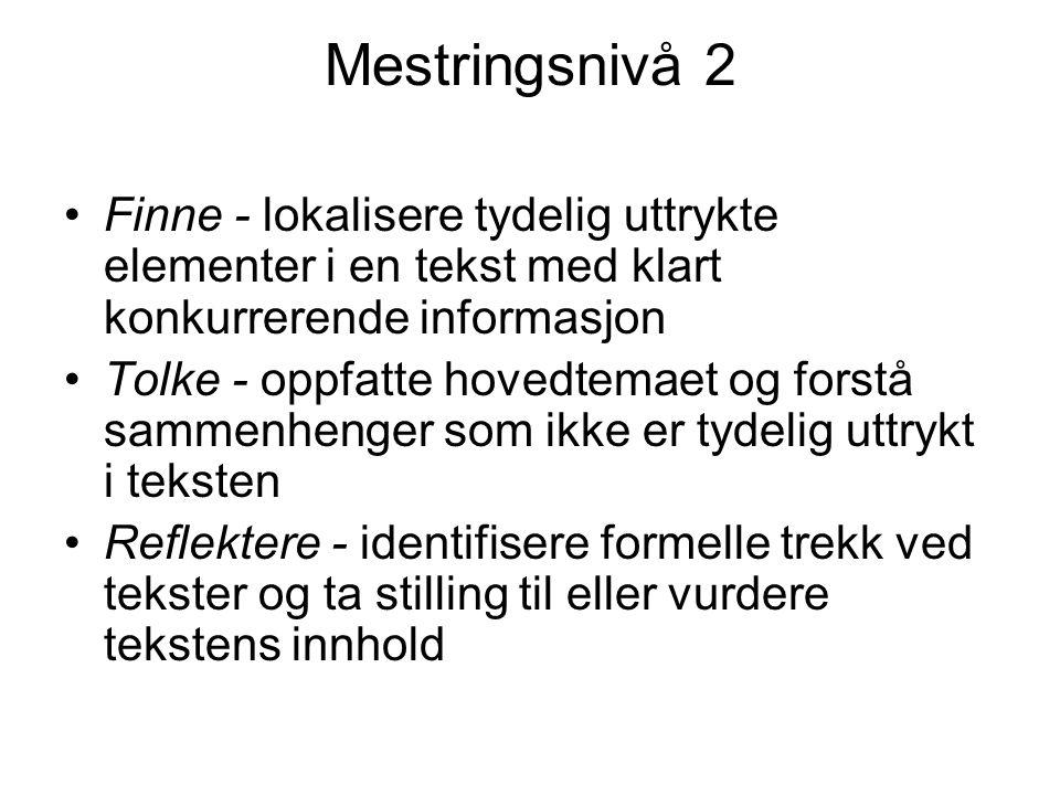 Mestringsnivå 2 Finne - lokalisere tydelig uttrykte elementer i en tekst med klart konkurrerende informasjon.
