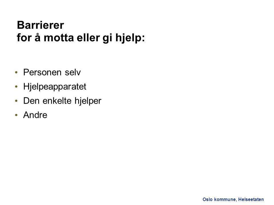 Barrierer for å motta eller gi hjelp: