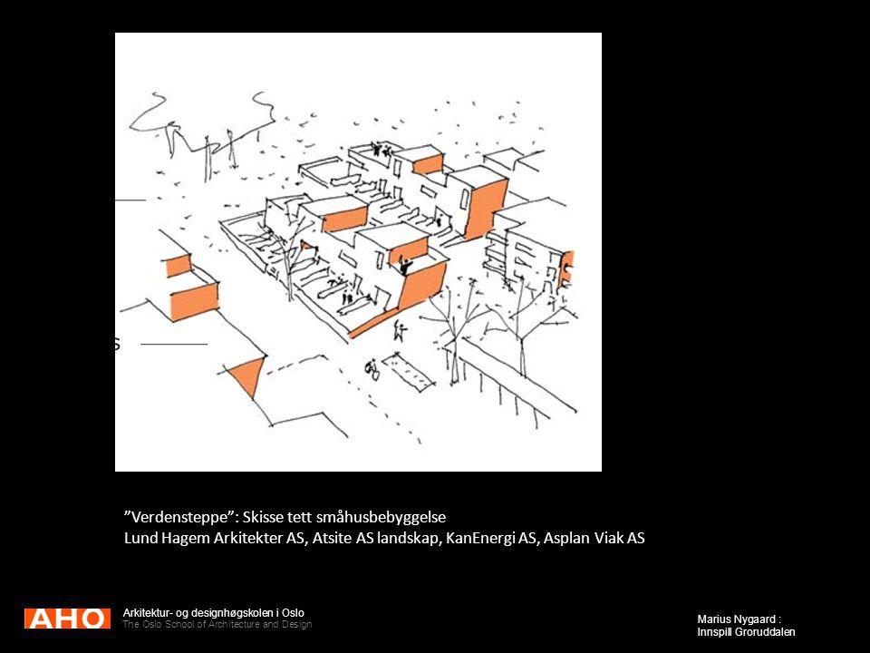 Verdensteppe : Skisse tett småhusbebyggelse