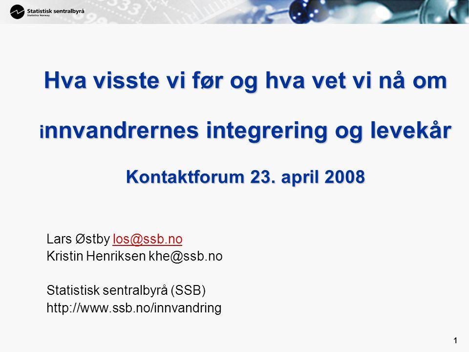 Hva visste vi før og hva vet vi nå om innvandrernes integrering og levekår Kontaktforum 23. april 2008