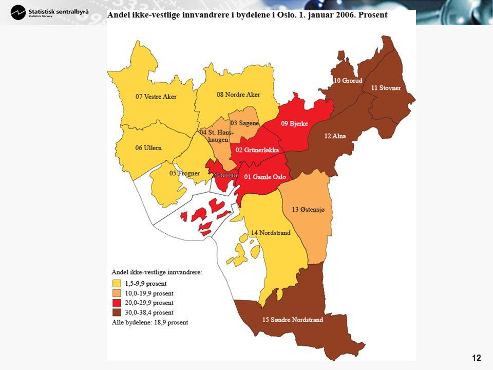 Tatt med et kart som viser hvor i Oslo – de ikke-vestlige innvandrerne bor.