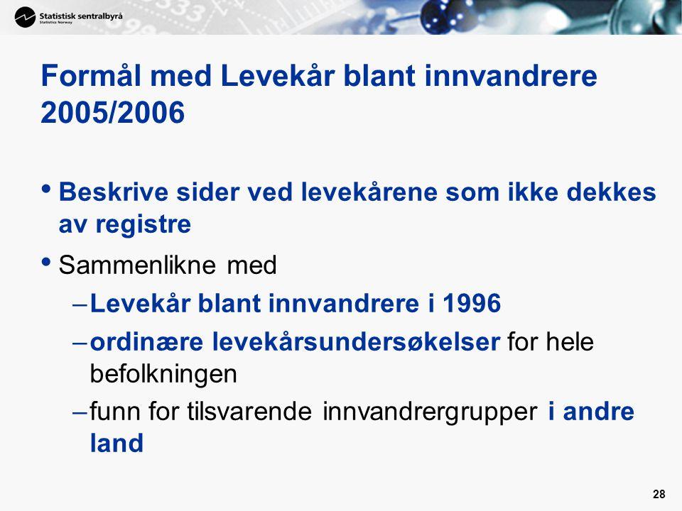 Formål med Levekår blant innvandrere 2005/2006