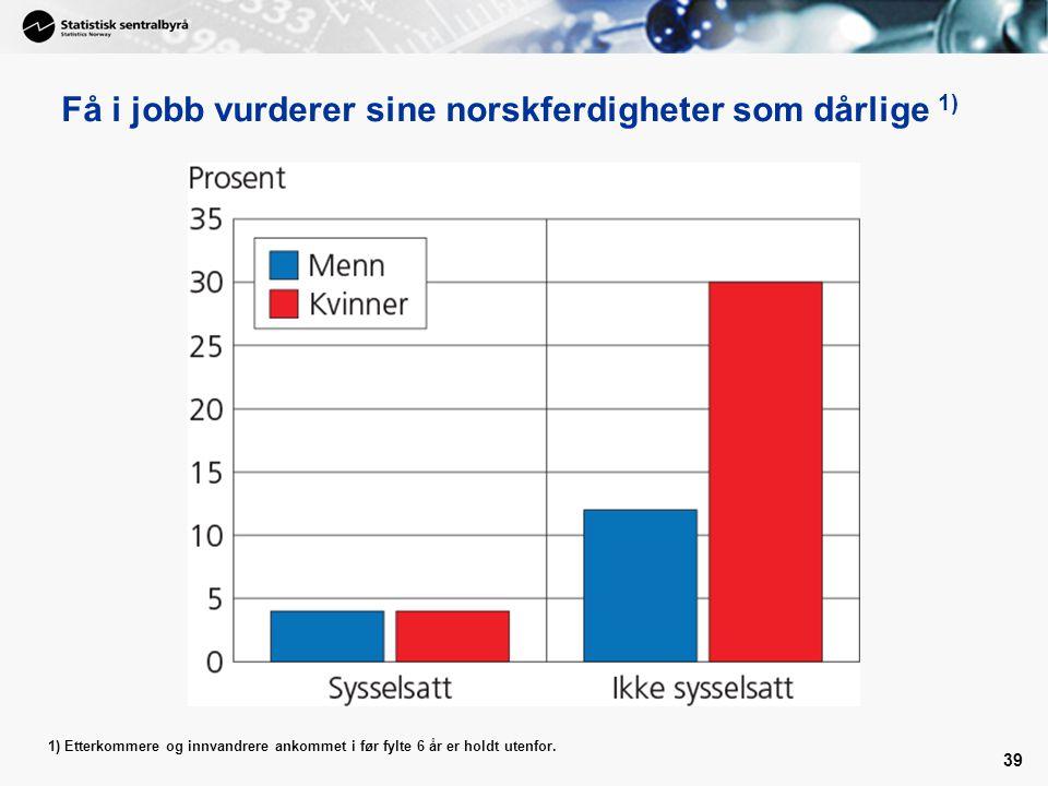 Få i jobb vurderer sine norskferdigheter som dårlige 1)