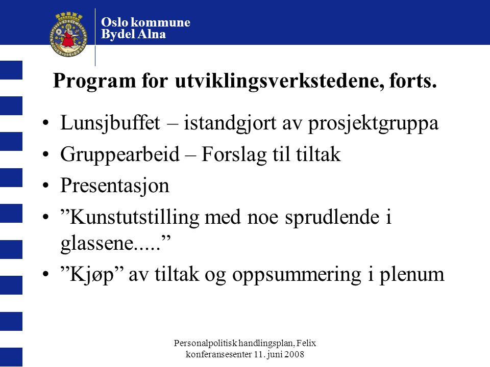 Program for utviklingsverkstedene, forts.