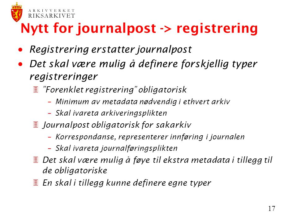 Nytt for journalpost -> registrering