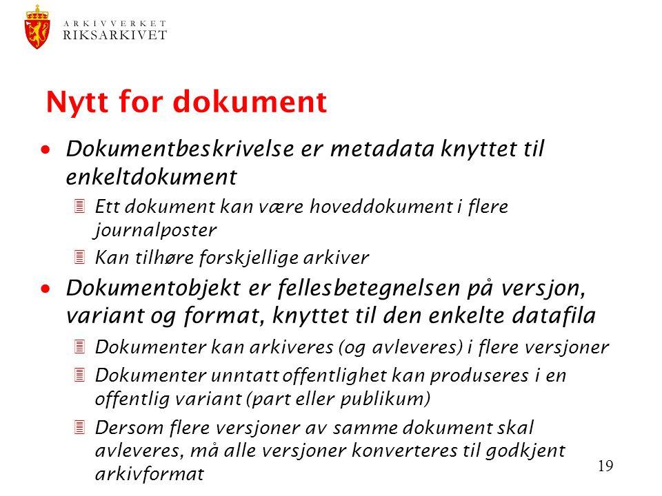 Nytt for dokument Dokumentbeskrivelse er metadata knyttet til enkeltdokument. Ett dokument kan være hoveddokument i flere journalposter.